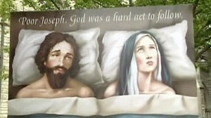 VIDEO: A church advertisement depicts an unhappy Joseph in bed with Mary.