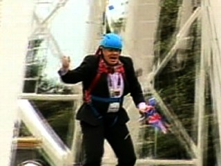 Watch: London Mayor Stuck in Zip Line During Olympic Stunt