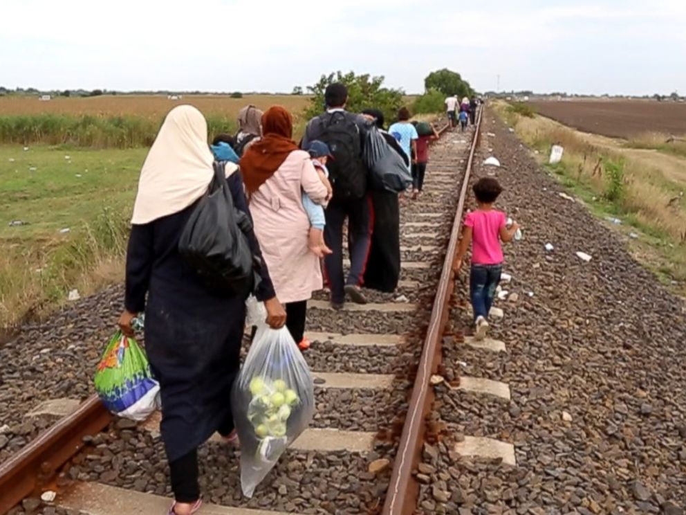 PHOTO: The Hilel family pictured in Serbia as they walk the train tracks towards Hungary.