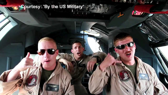 "PHOTO: U.S. Marines stationed in Afghanistan lip-syncing to Carly Rae Jepsens song ""Call Me Maybe."""