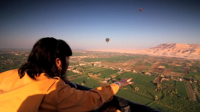 "VIDEO: ""Back to the Beginning"": Christiane Amanpour and son Darius float over Luxor, Egypt, exploring impor"