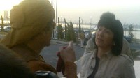 PHOTO: Embattled Libyan Colonel, Mmoammar Gadhafi is interviewed by ABC News reporter Christiane Amanpour.