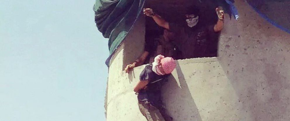 PHOTO: A bound and blindfolded detainee appears to be dropped – or possibly hung from the neck according to one analyst -- from what looks like an Iraqi military base guard tower. The image was posted on Instagram.