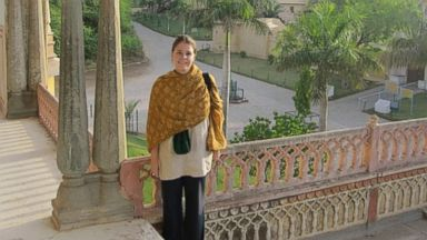 Kayla Mueller is seen here during her travels in this undated photo.