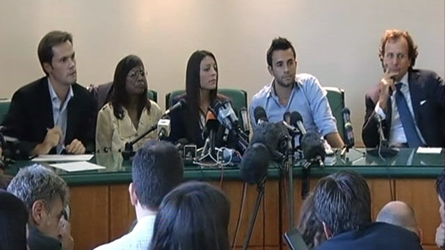 PHOTO:&nbsp;Meredith Kercher's mother Arline, sister Stephanie and brother Lyle held a press conference outside of Perugia's Court of Appeal to express their desire to see the verdict against Amanda Knox and Raffaele Sollecito upheld, Oct. 3, 2011.