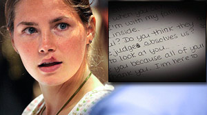 PHOTO Jailed murder suspect Amanda Knox is shown along with a portion of a letter written by knox