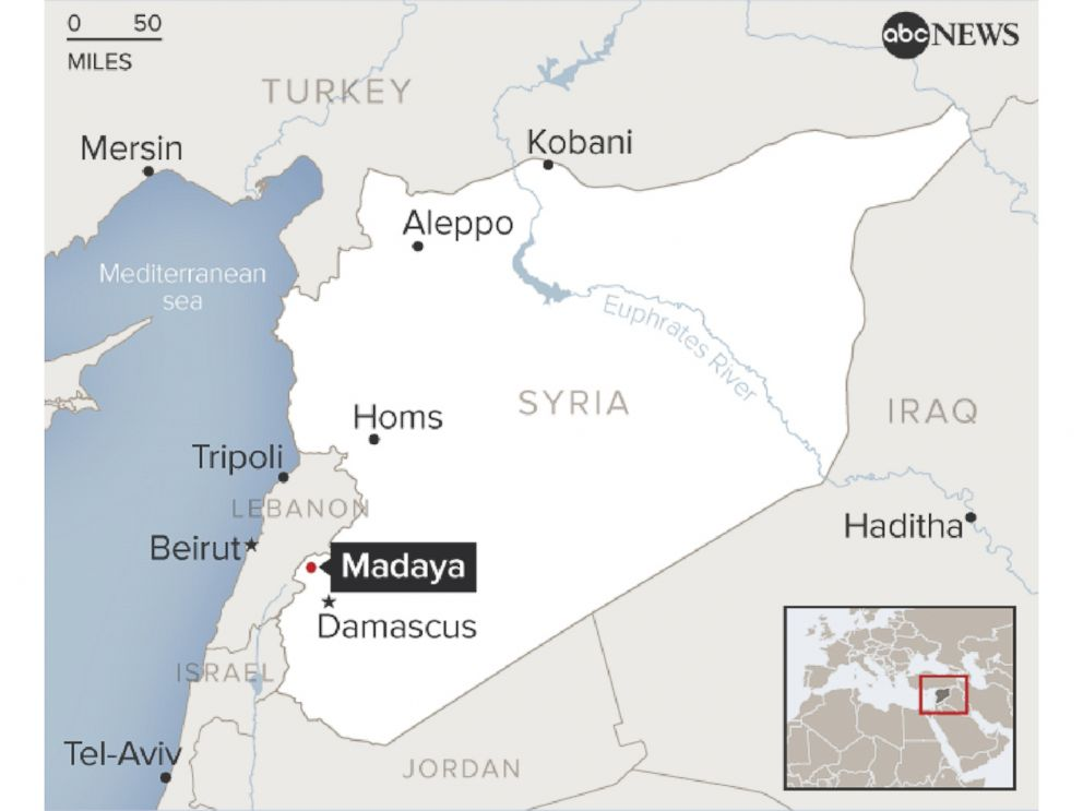 PHOTO: A map shows the location of Madaya in Syria.