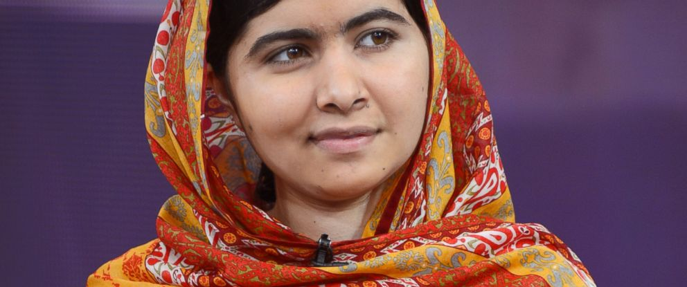 "PHOTO: Pakistani teenager and education activist Malala Yousafzai talks to Amy Robach on ""Good Morning America,"" Aug. 18, 2014."