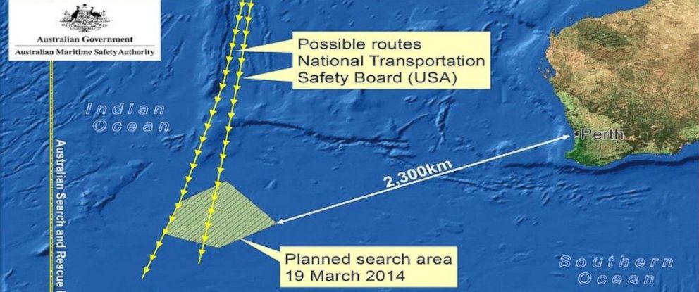 PHOTO: The search area for missing Malaysian flight 370.