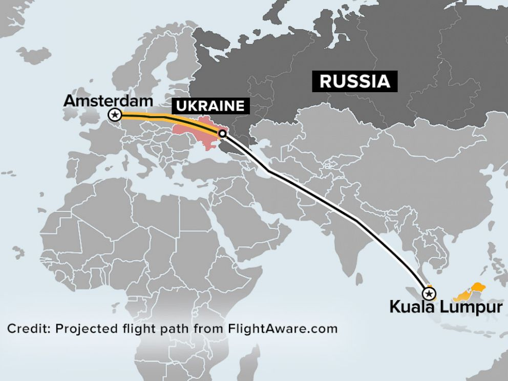 PHOTO: The flight path of MH17, which departed Amsterdam and crashed in east Ukraine en route to Kuala Lumpur, Malaysia, July 17, 2014.