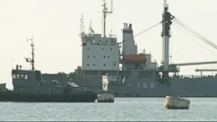 VIDEO: Ukrainian naval ships are being blocked by Russians from leaving Sevastopol Bay.