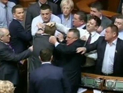 Ukrainian Lawmakers Throw Fists in Parliament Brawl