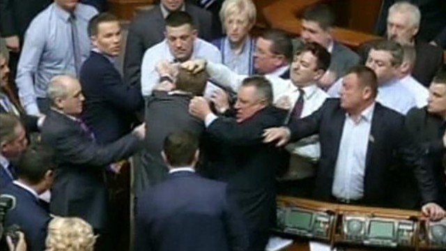 Video: Ukrainian Lawmakers Throw Fists in Parliament Brawl