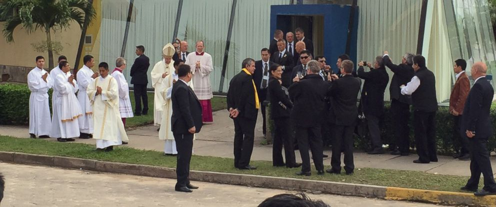 PHOTO: Pope Francis stands outside the Burger King franchise that served as a makeshift sacristy for todays open air mass in Santa Cruz, Bolivia.