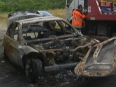 PHOTO: The convoy of a Saudi prince was attacked in Paris, Aug. 17, 2014, by heavily armed men who stole private documents and money. One of the cars belonging to the attackers, seen here, was found burnt out in a Parisian suburb.