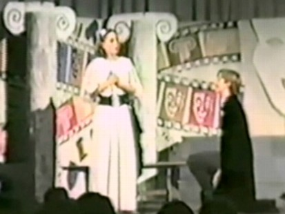 "VIDEO: School play shows ""William"" on bended knee."