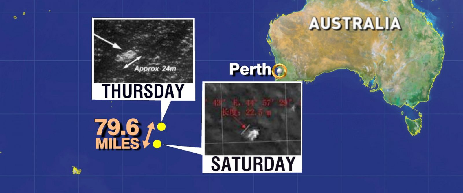 PHOTO: A map showing the search area off the coast of Australia for Malaysia Airlines Flight 370, March 22, 2014.