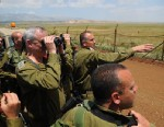 "PHOTO: The IDFs Chief of Staff Benjamin (Benny) Gantz conducted this morning an inspection on the Israeli Syrian border. He was joined by the CO Northern command Maj. Gen Yair Golan and the commander of the ""Gaash"" division , Brig Gen Tamir Heyman."