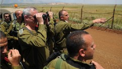 PHOTO: The IDF's Chief of Staff Benjamin (Benny) Gantz conducted this morning an inspection on the Israeli Syrian border. He was joined by the CO Northern command Maj. Gen Yair Golan and the commander of the