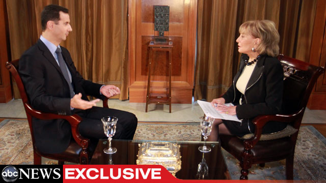 PHOTO: ABC News Anchor Barbara Walters interviews Syrian President Bashar al-Assad in his first interview with an American journalist since the uprising in Syrian began almost a year ago.