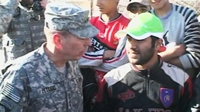 VIDEO: General David Patraeus demonstrates the impact the surge has had on Baghdad.