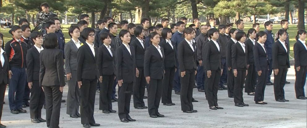 PHOTO: An all-woman police squad trained in Tokyo on Nov. 1, 2017, ahead of a presidential visit by President Donald Trump.
