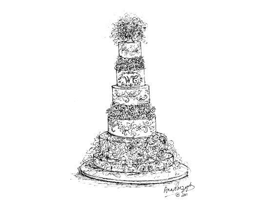 Royal Wedding Cake Sketches