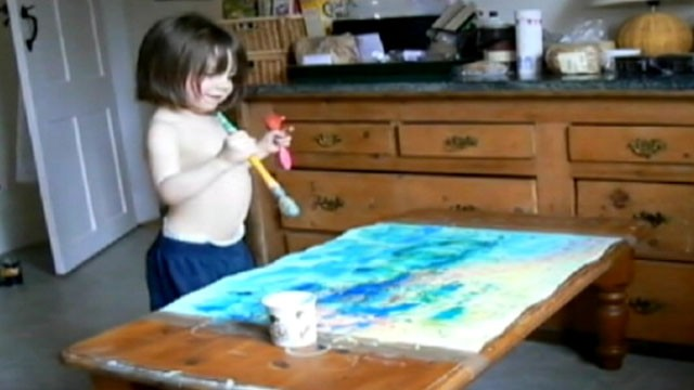 VIDEO: Proceeds from the sales of Iris Grace Halmshaws paintings go to her therapy.