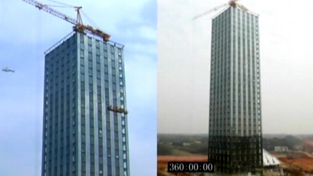 VIDEO: Timelapse video shows construction of prefabricated building.