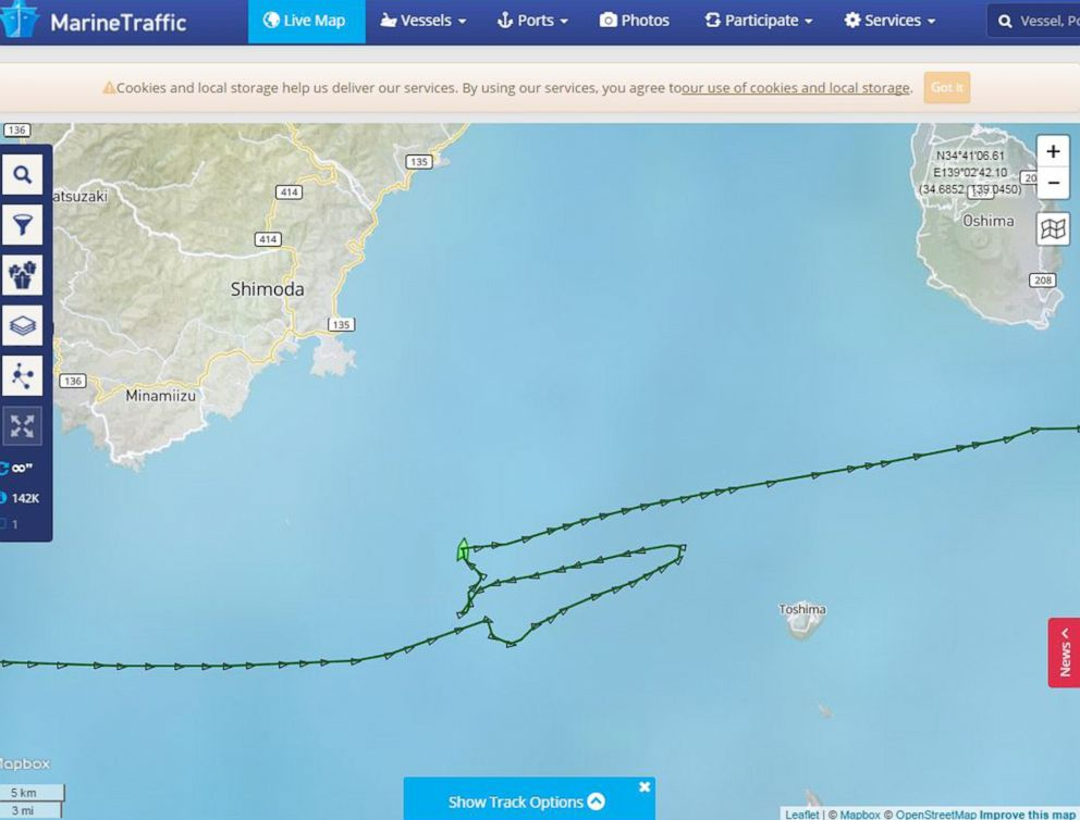 PHOTO: A screenshot provided by vessel-tracking service MarineTraffic shows the route of the container ship ACX Crystal that collided with the USS Fitzgerald in the waters southwest of Tokyo, June 16, 2017, killing seven U.S. sailors.