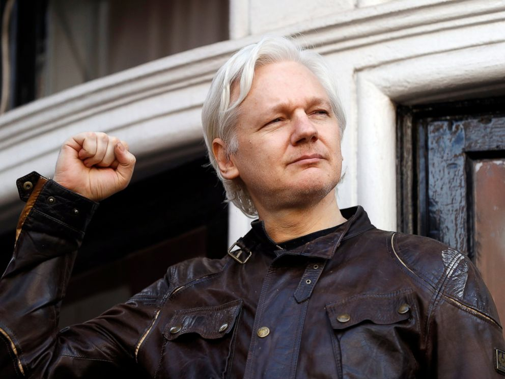 PHOTO: Julian Assange greets supporters outside the Ecuadorian embassy in London, May 19, 2017.