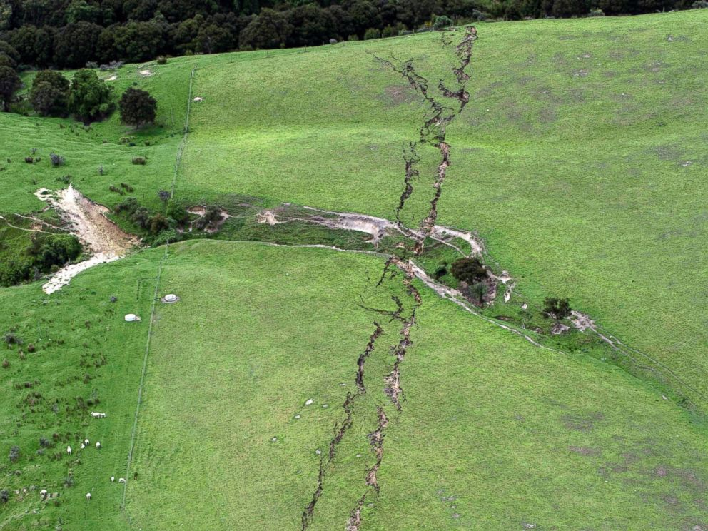 PHOTO: Cracks in farmland around Conway near Kaikoura, New Zealand, are seen after a powerful earthquake, Nov. 14, 2016.