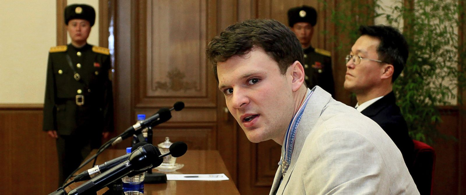 PHOTO: American student Otto Warmbier speaks to reporters in Pyongyang, North Korea, Feb. 29, 2016.