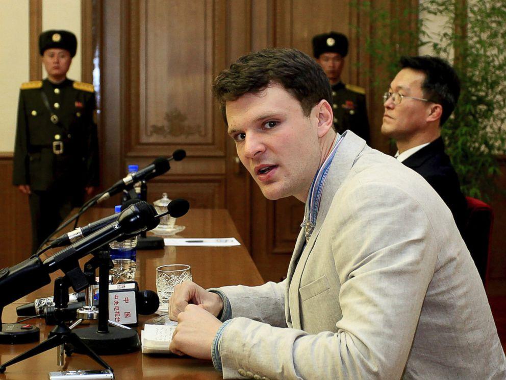 PHOTO: American student Otto Warmbier speaks to reporters in Pyongyang, North Korea, Feb. 29, 2016.