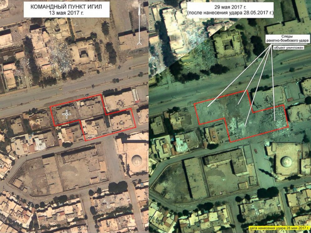 PHOTO: An aerial image at left of the ISIS headquarters on May 13, 2017, and an aerial image taken on May 29, at right, showing the same site following the Russian airstrike on May 28, 2017 on the outskirts of Raqqa, Syria.