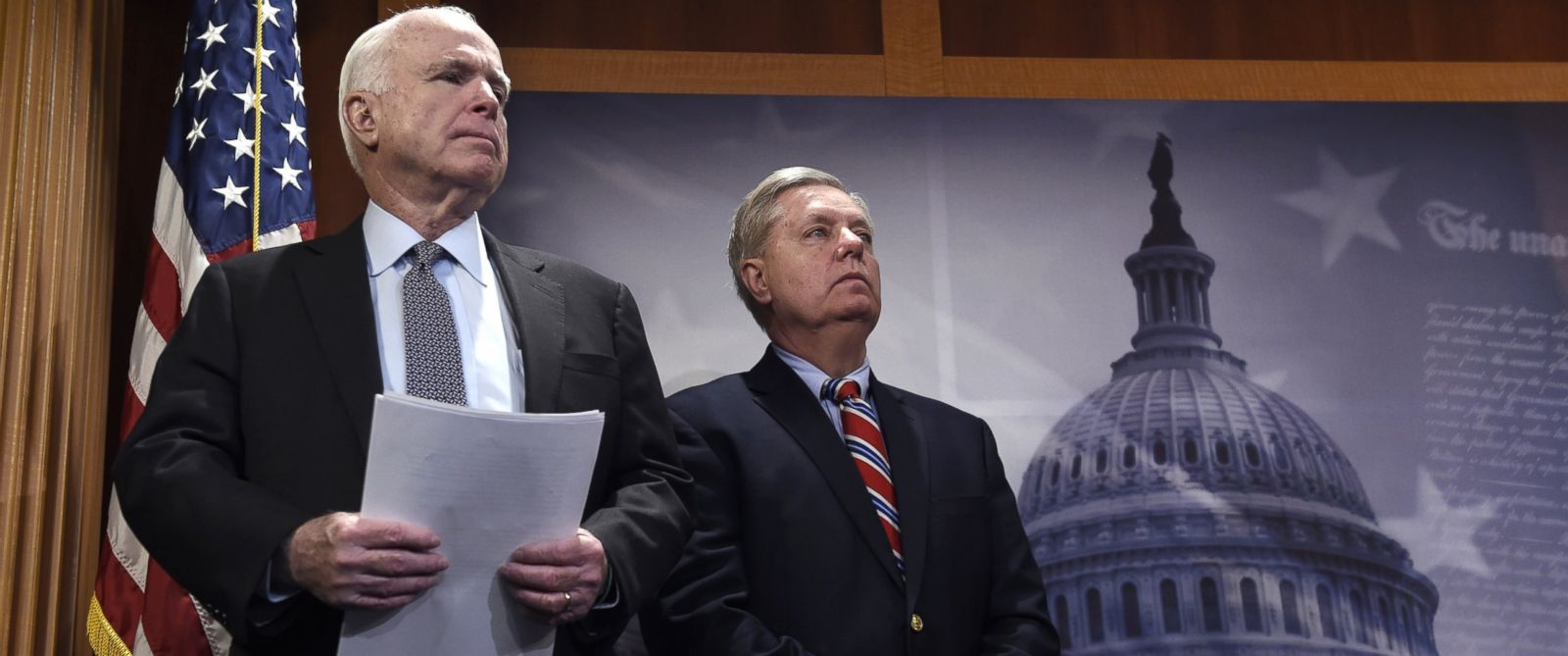 PHOTO: In this Jan. 21, 2016 file photo, Sen. John McCain and Sen. Lindsey Graham wait to speak during a news conference on Capitol Hill in Washington.