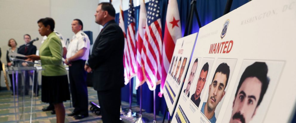 PHOTO: Officials give a press conference to announce arrest warrants in a violent altercation May 16, 2017 at the Turkish Embassy in Washington, D.C., during a visit by Turkeys president.