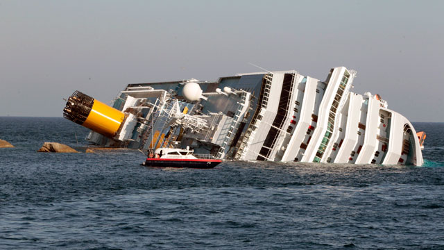 PHOTO: Ship Aground off Italy; 3 Bodies Found, 69 Missing