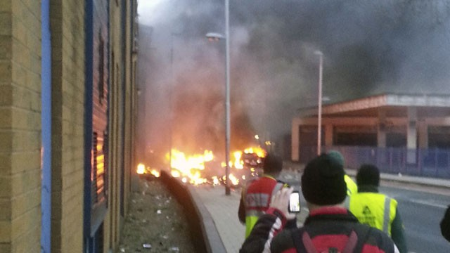 PHOTO:&nbsp;A general view of the scene shortly after a helicopter crashed in the Vauxhall area of central London, after hitting a crane on top of a tower block by the River Thames, according to eye witness reports, Wednesday Jan. 16, 2013.