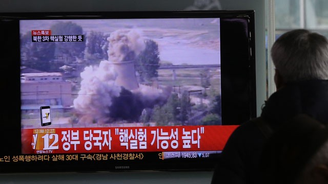 PHOTO: A South Korean man watches a TV news showing a file footage of North Korea's nuclear test at the Seoul train station in Seoul, South Korea, Tuesday, Feb. 12, 2013.