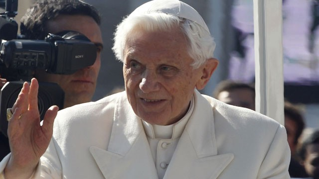 PHOTO:&nbsp;Pope Benedict XVI greets pilgrims in St. Peter's Square at the Vatican, Wednesday, Feb. 27, 2013. Pope Benedict XVI greeted the Catholic masses in St. Peter's Square Wednesday for the last time before retiring.