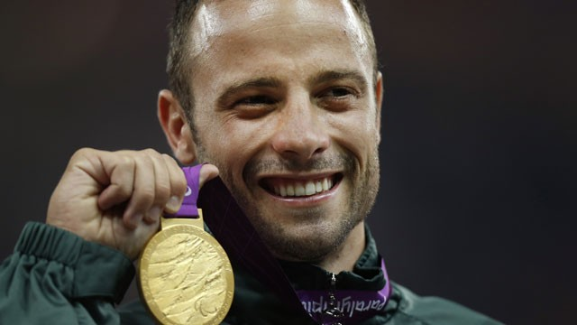 PHOTO:&nbsp;In this Sept. 8, 2012, file photo, Gold medalist South Africa's Oscar Pistorius poses with his medal during after winning the men's 400 meters T44 category final at the 2012 Paralympics, in London.