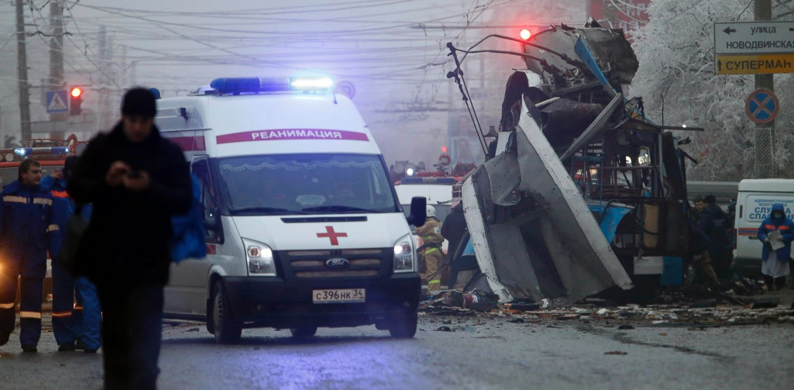 PHOTO: An ambulance leaves the site of a trolleybus explosion in Volgograd, Russia, Monday, Dec. 30, 2013. The explosion left 10 people dead Monday, a day after a suicide bombing that killed at least 17 at the citys main railway.