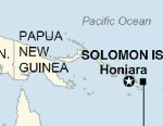 Map locates an 8.0-magnitude earthquake that generated a 0.9 meter (3 feet) tsunami in the Solomon Islands on Tuesday, Feb. 5, 2013.