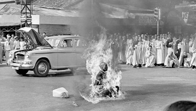 PHOTO: Thich Quang Duc, a Buddhist monk, burns himself to death on a Saigon street June 11, 1963 to protest alleged persecution of Buddhists by the South Vietnamese government.
