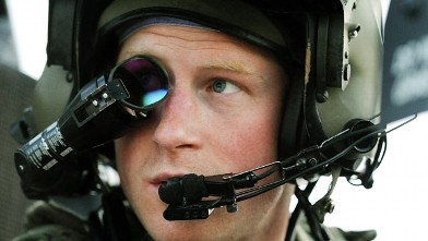 PHOTO: Prince Harry wears his monocle gun sight as he sits in the front seat of his cockpit at the British controlled flight-line in Camp Bastion southern Afghanistan, Dec. 12, 2012.