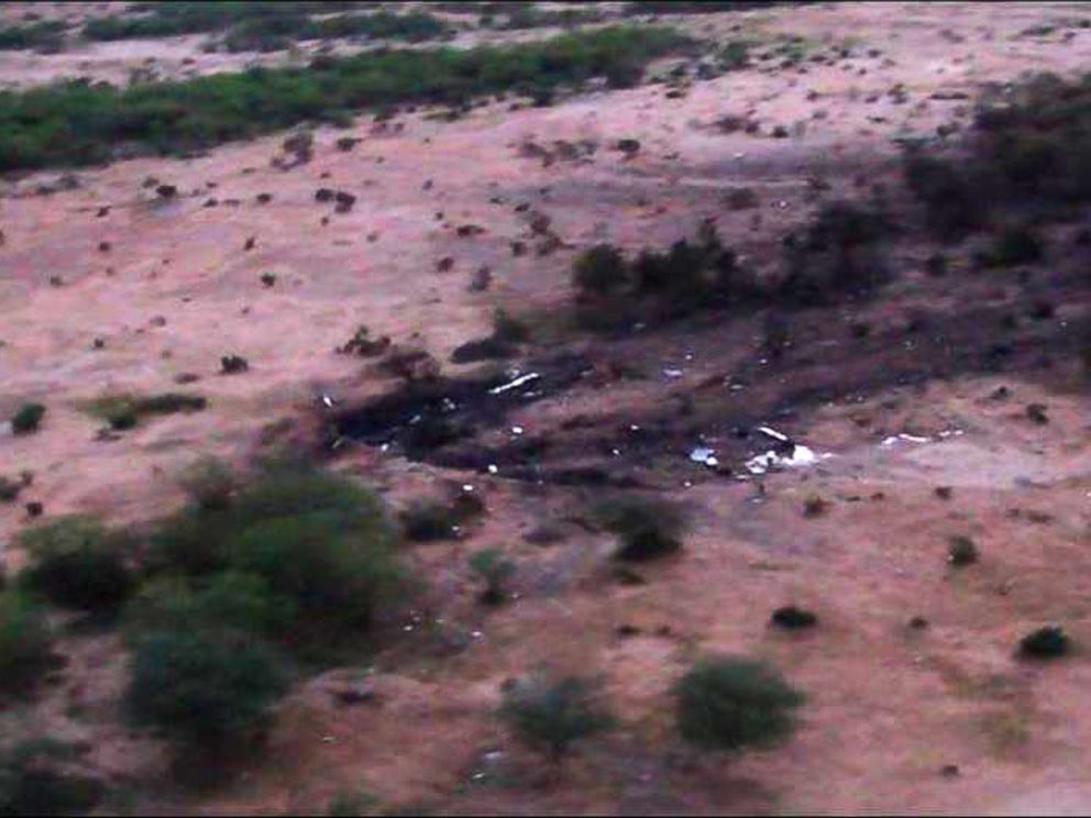 PHOTO: This photo provided on July 25, 2014 by the French army shows the site of the Air Algerie plane crash in Mali.