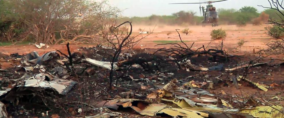 PHOTO: This photo provided Friday July 25, 2014 by the French army shows a helicopter at the site of the Air Algerie plane crash in Mali.
