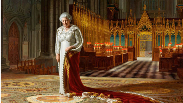 PHOTO: A portrait of Queen Elizabeth II on display at Westminster Abbey has been defaced with paint. The abbey says a painting by Ralph Heimans hanging in the building?s Chapter House was vandalized.