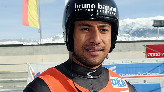 PHOTO: Bruno Banani of Tonga poses after his run during the men's single competition at the Luge World Cup in St. Moritz, Switzerland, Jan. 29, 2012.